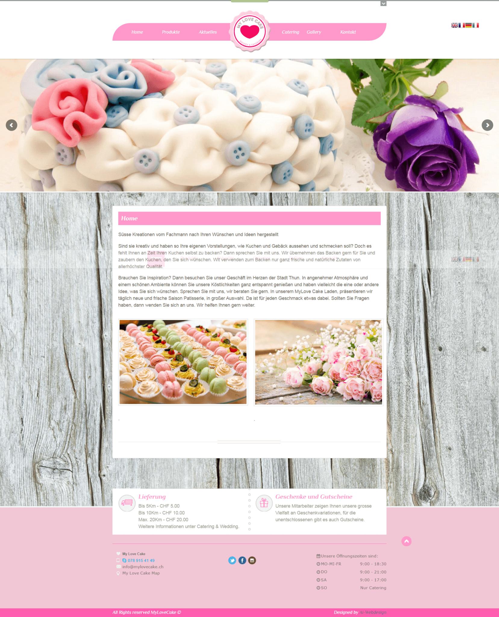 Webseite, MyLoveCake, Ai-Webdesign